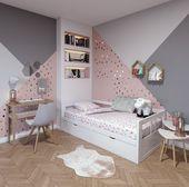 Chambre d'enfant contemporaine rose blanche beige bois