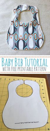 Baby Lätzchen Tutorial mit Free Printable Pattern – Mary Martha Mama – Wie man …   – Pattern and tutorials