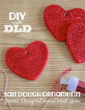 Salt Dough Valentines Day Heart Ornaments by Desig…