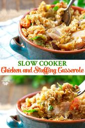Slow Cooker Chicken and Stuffing Casserole