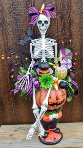Halloween Skeleton arrangement, Ms. Bones table centerpiece, Halloween decoratio…