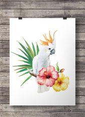 Cacatúa decoración tropical loro pájaro australiano hibisco blanco acuarela hojas de palma flora australiana fauna imprimible pintura de pared   – Tropic Illustrations