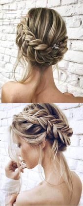 Bride Updo Wedding Hairstyle Ideas For 2017 Trends #Wedding Hairstyles Simple Half Up Half Down Wedding Hairstyles !!! Long half braid …