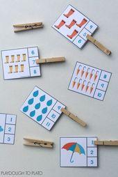 Zahl-Klippkarten des regnerischen Tages. Spaß, Aktivität für eine Wetter- oder Frühlingseinheit zu zählen!   – school | Mathe
