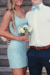 Straps Light Sky Blue Homecoming Dress
