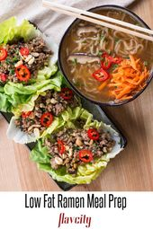 Healthy meal prepping with low carb ramen soup served with low fat pork lettuce …