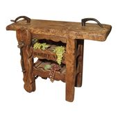 """Antique """"Bordeaux"""" French Wine Carrier Converted From Workbench"""