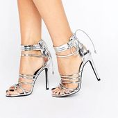 e2b43c498ae2 Silver Ghillie Heeled Sandals ( 53) ❤ liked on Polyvore featuring shoes