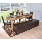 Tischgarnitur Bank mit Aufbewahrung Kriens Xxl + 4 Stühle Littau, Leder & # 3 …   – Products
