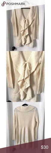 ALLISON BRITTNEY cream ruffle cardigan sweater Brand: Allison Brittney Tag reads… – My Posh Picks