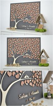 3D LIEBESBAUM Hochzeit Gästebuch various Baum Holz Customized einzigartige Gästebuch h …