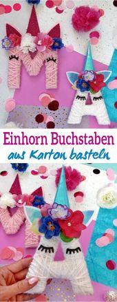 Letras de unicornio hechas de cartón y lana   – Basteln mit Kindern