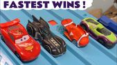 Hot Wheels 4 Lane Funlings Race with Disney Pixar Cars McQueen and DC Co…
