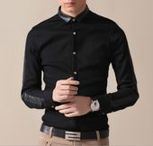 Men's Shirt with Faux Leather Collar | clothes | Pinterest | Man ...