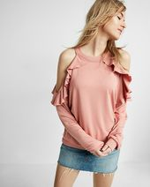 Express One Eleven Cold Shoulder Ruffle Sweatshirt Ruffle Sweatshirt Everyday Wardrobe Clothes