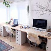 ︎ ames Stuhl: Eames Shell Chair ︎ ︎ Schreibtisch: IKEAS ALEX + La … #chai