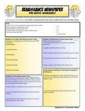 Renaissance Newspaper With Pre Write Template All Texts Fun Fun Texts Student Writing Middle School Lesson Plans