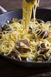 Spaghetti Vongole au pesto de persil   – Kochen