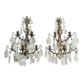 1800s Antique French Bronzed Metal and Crystal Candle Sconces – a Pair
