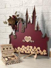Disney Wedding Guest Book Alternative, Rustic Wedding, Wedding, Castle Wedding, Drop Box, Wedding Guest Book Ideas, Wood Guestbook, Custom