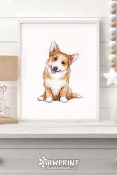 Happy Corgi Puppy Dog Art Print   – Corgi Cute Sploots