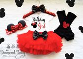 First Birthday Minnie Mouse Outfit- Red and Black Minnie Mouse Outfit- Baby First Birthday- Minnie Mouse Birthday-Birthday Girl Onesie – One year birthday party
