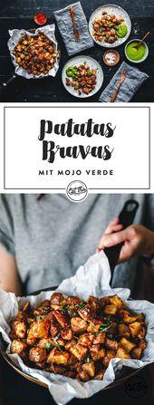Super knusprige Patatas Bravas mit frischem Mojo Verde mit Knoblauchgeschmack. Unser Spe …   – Quick & Easy
