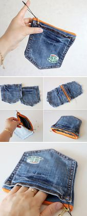 How to Make a Denim Pocket Purse. DIY Tutorial