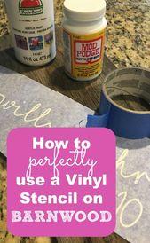 Verwendung einer Vinylschablone auf Barnwood oder Altholz