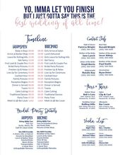 Editable Navy & Blush Wedding Timeline – Imma Let You Finish – Best wedding of All Time – Edit in Word – Day of Wedding Schedule
