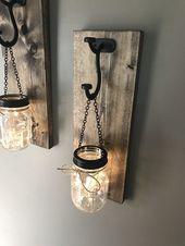 Hanging mason jar wall sconce | set of 2 mason jar sconce with lights | light up mason jar wall sconce | light up wall sconce set