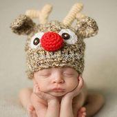 Neugeborene junge Weihnachten Rentier Mütze gehäkelte Strickmütze Baby Foto …   – Weihnachten | Babyfotos und Kinderfotos Ideen