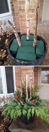 DIY Outdoor Weihnachtspflanzer. Toll, und man kann auch eine verkleinerte Versio machen …