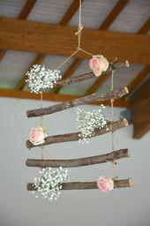 décoration salle – suspension – bois – fleurs – mariage alsace