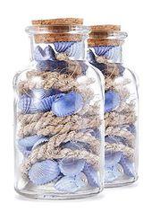 Heitmann Deco – Glasflasche mit blauen Muscheln und Tauwerk – maritime Deko für…