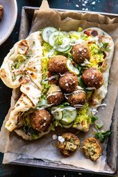 Falafel Naan Wraps with Golden Rice and Particular Sauce.