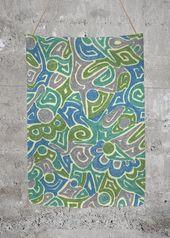 Oversized Merino Wool – Corinne in Blue/Green/Grey…