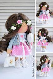 Nursery Decor Idea, Baby Room Art Doll, Collectable Rag Doll, Textile Tilda Doll, Unique Girl Gift, Pink Custom Doll, Present by Maria L