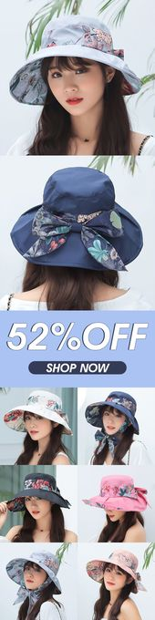 Women UV Protection Floral Bandaged Large Brim Sun Hat Vintage Lady Bucket Cap – Clothes