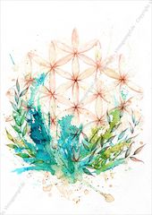 Flower of Life, Symbolic Image, Ink Art, Symbol