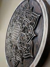 Blume des Lebens Mandala, Holz geschnitzt, heilige geometrische Wandkunst, Meditation, Yoga, Dekor
