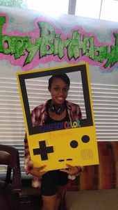 Game boy color frame for 90s party made by moi……