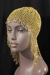 GOLD BEADED FLAPPER HEAD DRESS- CAP-1920 1930 s Cleopatra look ... 763ce6038743