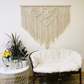 Hang above bed macrame wall hanging, Over the bed decor, Above couch wall decor, Large woven wall hanging for living room, Christmas gift