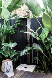 An outdoor shower surrounded by palms creates a resort feel in the backyard of t… – home