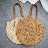 Bohemian Handmade Summer Beach Round Straw Shoulder Bags