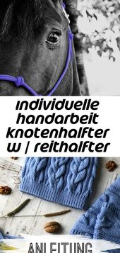 Individuelle handarbeit knotenhalfter w / reithalfter knoten und edelstahl-snap