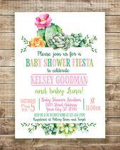 Baby Fiesta Invitation, Fiesta Baby Shower Invitation, Cactus Baby Shower Invite, Succulent Baby Shower Invitation, Dos Babies, Fiesta Baby