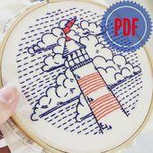 "Embroidery Sample PDF: ""lighthouse"", lighthouse, ocean, sea, clouds, ocean, seashore, seaside, nautical, maritime"