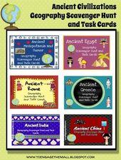 Historic Civilization Geography Scavenger Hunt & Activity Card Bundle- Differentiated